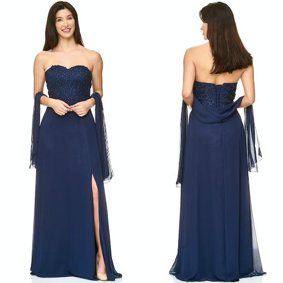 0249412efc6a37 Galajurk marine-blauw split-strapless (optie schouderbanden) chiffonR1632
